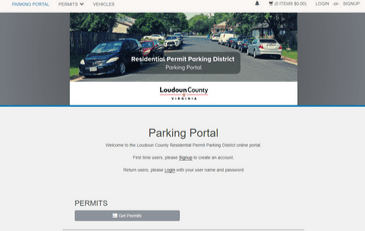 Image of screenshot of new online portal for Residential Permit Parking Districts
