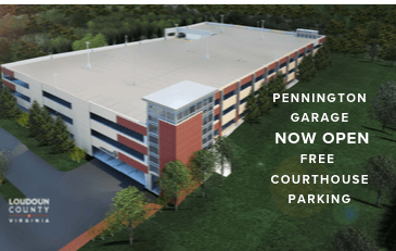 Image of Pennington Garage with Now Open and Free Courthouse Parking message