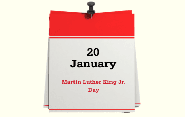 Image of January 22 Martin Luther King Jr Day calendar page