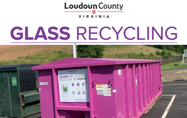 Image of Purple Glass Recycling Bin in Loudoun County